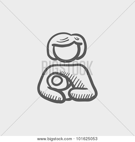 Woman holding the baby sketch icon for web, mobile and infographics. Hand drawn vector dark grey icon isolated on light grey background.