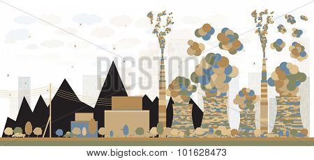 Abstract Coal power plant or factory pipes with smoke. Vector Illustration