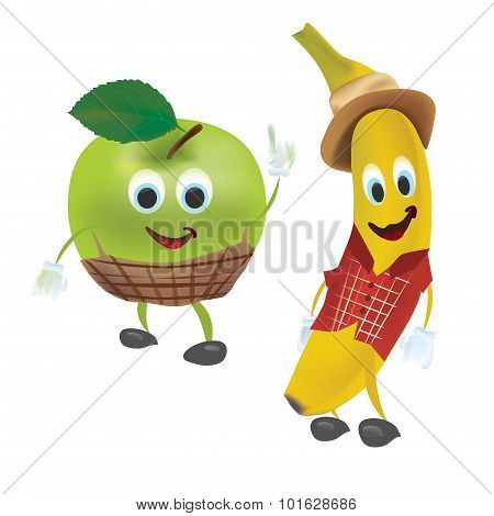 Cartoon Apple and Banana