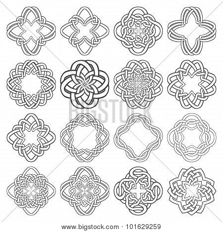 Sixteen tetragon decorative elements with stripes braiding