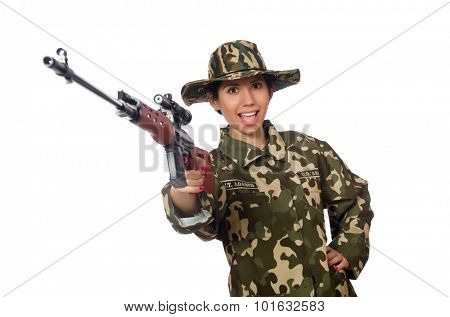 Woman with sniper weapong isolated on white poster