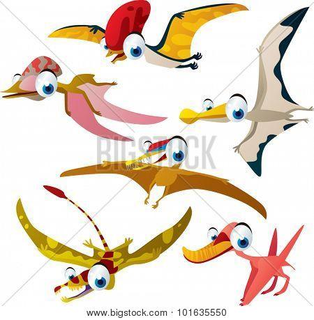 Set of vector cute comic pterosaurs. Dinosaurs series