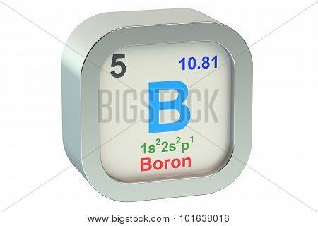 Boron element symbol isolated on white background poster