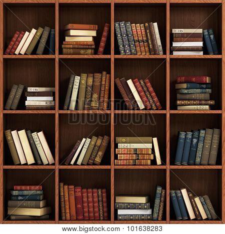 Library Bookshelf Full Of Book. Book On The Wood Shelf.