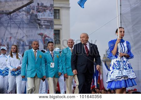 ST. PETERSBURG, RUSSIA - SEPTEMBER 7, 2015: Team Kazakhstan during opening ceremony of the XI World Championship in Fire and Rescue Sport. First World Championship was held in 2002