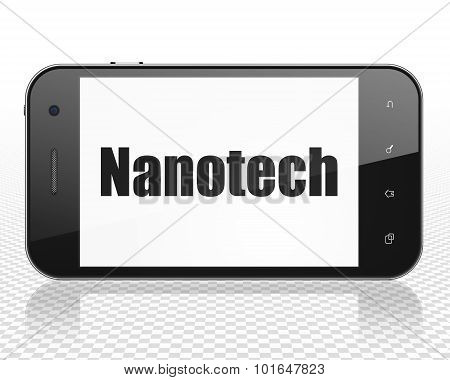Science concept: Smartphone with Nanotech on display