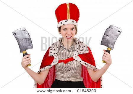 Businesslady wearing crown isolated on white