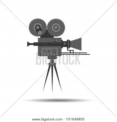 Flat detailed professional retro movie film camera