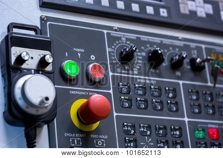 Control panel of machine. Switches, close-up