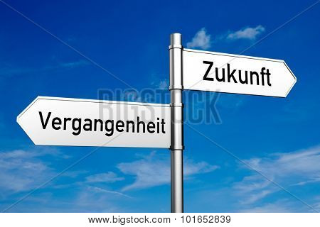 Street sign with German words
