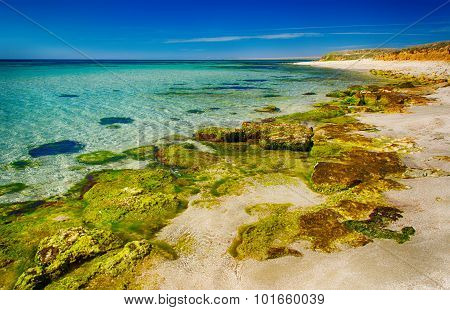 Seascape, Shore With Clear Water And Rocks