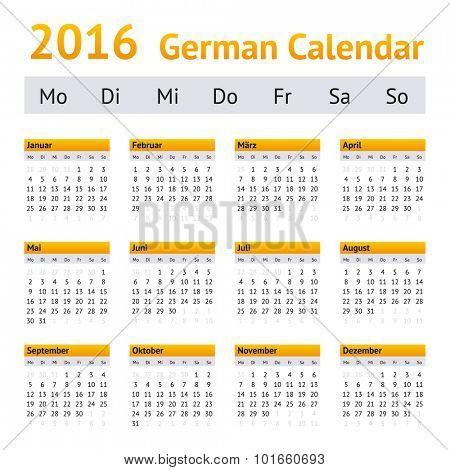 2016 German Calendar. Week starting on Monday
