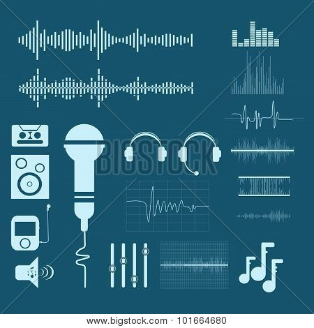 Vector Sound Waveforms. Sound And Musical  Icons Eps 10