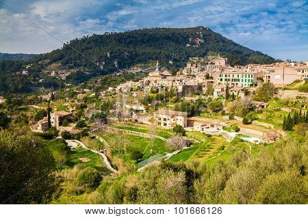 Beautiful Aerial View Of The Small Village Valldemossa