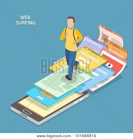 Web surfing isometric flat vector concept.