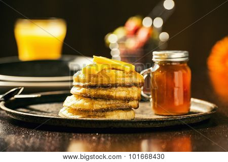 Crumpets and honey