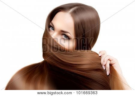 Long hair. Hairstyle. Hair Salon. Fashion model with shiny hair. Woman with healthy hair girl with luxurious haircut. Hair loss. Concept of oriental woman, face covered by hair