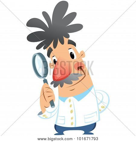 Cartoon Happy Smiling Medical Scientist Holding Magnifying Glass Researching