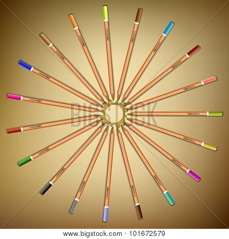 Multi-colored Pencils Laid Out In A Circle On The Paper.vector