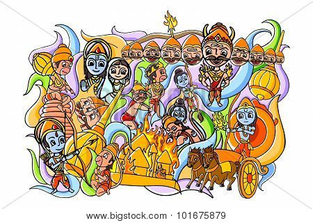 Happy Dussehra doodle drawing for mobile application