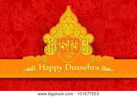 vector illustration of goddess Durga for Happy Dussehra poster