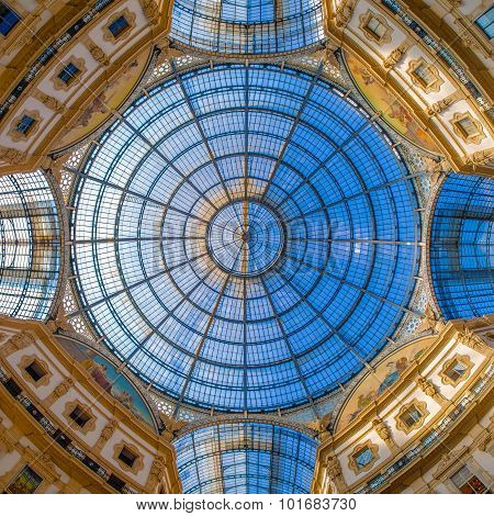 Dome in the center of Galleria Vittorio Emanuele II, Milan, Lombardy, Italy, southern Europe, shopping mall, travelling landmark, architecture detail poster