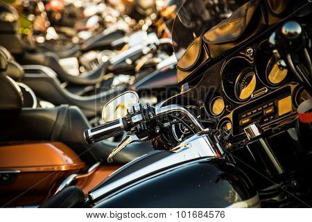 PRAGUE- SEPTEMBER 04: Harley Davidson motorcycle for exhibition during the Prague Harley days 2015. Prague, Czech republic, september 04, 2015.