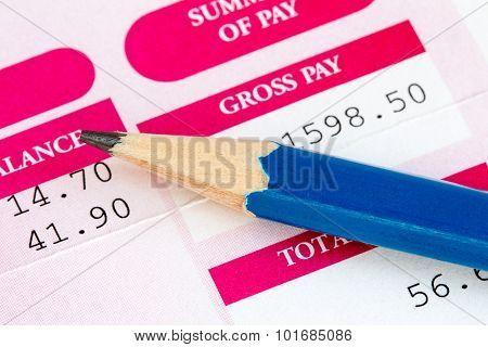 Close Up Of Wage Slip