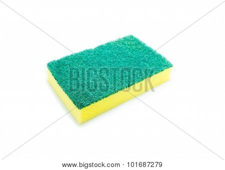 Sponges For Dishwashing On White Background, Scotch Brite Dishwashers