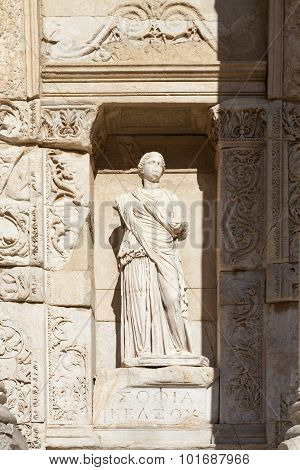 Ephesus, Turkey. The sculpture on the facade of the Library of Celsus.