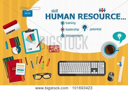 Human Resource And Flat Design Illustration Concepts For Business Analysis