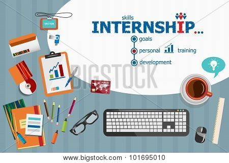 Internship Design And Flat Design Illustration Concepts For Business Analysis