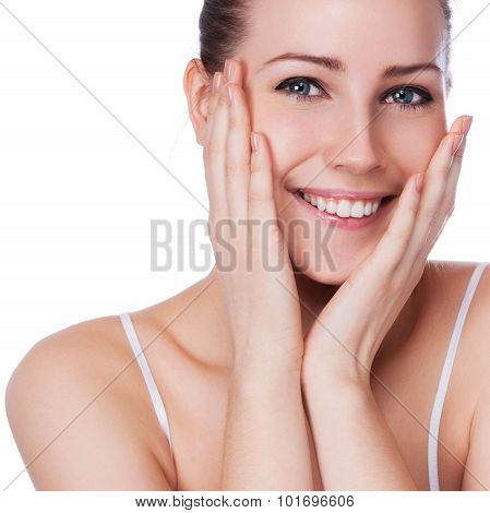 Beautiful face of young adult woman with clean fresh skin - isolated on white poster