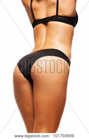 Perfect Female Sexy Buttocks In Black Lingerie poster