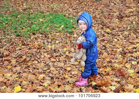 Toddler girl wearing autumn hoodie overall in full length at fall leaves groundcover