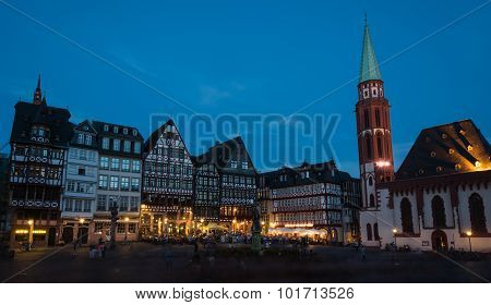 Famous Frankfurt City Romerberg Square In Germany
