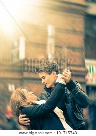 Couple of Lovers dancing on the Street with radial defocusing poster