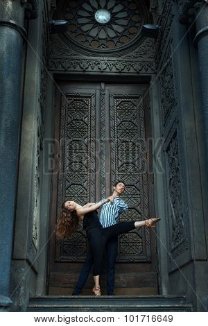 Girl Long Hair Dancing With A Guy, Passionate Dance.