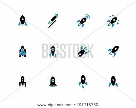 Space rocket duotone icons on white background.