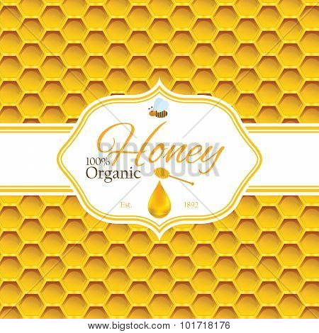 Honey Label Template For Honey Logo Products With Bee And Drop Of Honey On Honeycomb Colorfull Patte