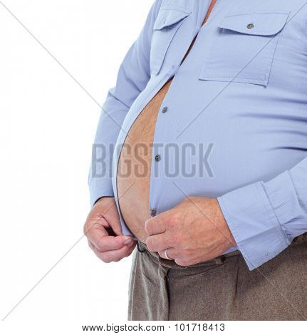 Senior man with big fat stomach. Obesity concept. poster