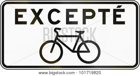 Bicycles Excepted In Canada
