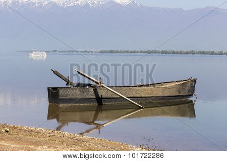Boat At Kerkini Lake In Serres, In Greece