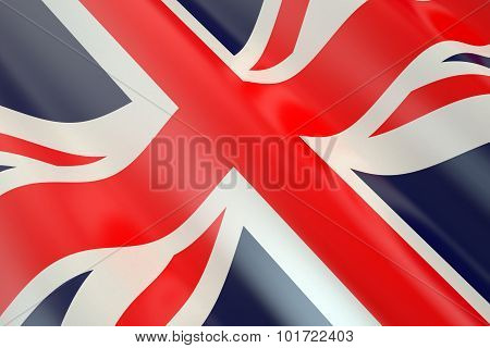 Flag of Great Britain in the wind poster