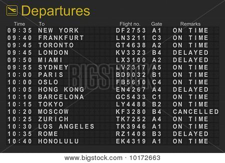 International Airport Departures Board