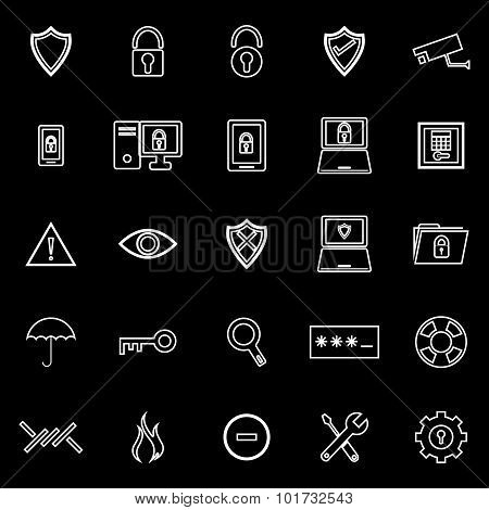 Security Line Icons On Black Background