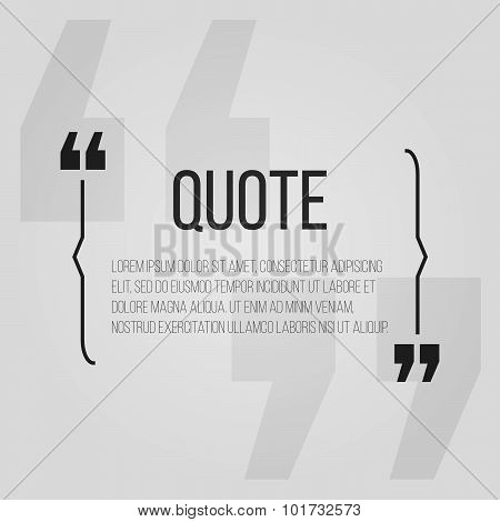 Quote Blank With Text Bubble With Commas. Vector Template For Note,message, Comment. Dialog Box.