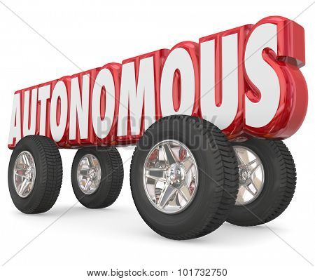 Autonomous 3d red word with wheels or tires to illustrate a self-driving vehicle with driver assist and autonomy features