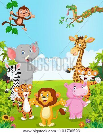 Cartoon collection happy animal. vector illustration