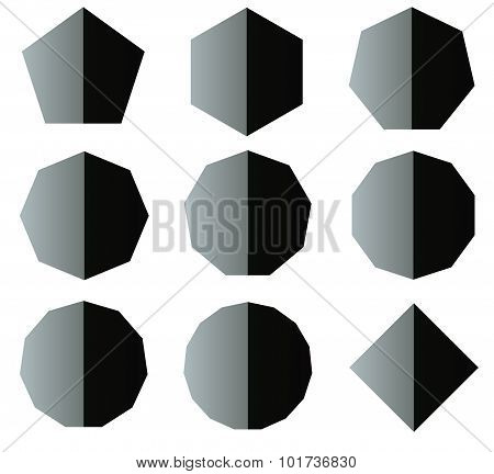 .polygon Black And White Shapes Set Illustration